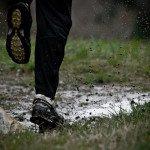 trail running in mud