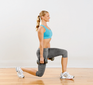 Walking Lunge - Holding dumbbells, perform a series of walking lunges. Do 10 reps forwards, then do backward lunges to return to your starting point. Rest and repeat.