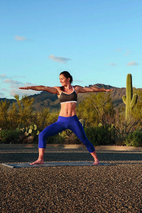 Tori does yoga post run in Tucson Mountain Park, Tucson, AZ.
