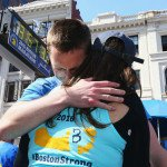 Patrick Downes, who lost his leg in the 2013 Boston Marathon bombings, hugs his wife after finishing the marathon. Photograph by Maddie Meyer/Getty Images
