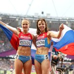 Mariya Savinova and Ekaterina Poistogova, of Russia, win gold and bronze in the 800 meters at the 2012 Olympics. They have since been banned from competition for doping. Photograph by Giancarlo Colombo.
