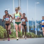 Lebo Phalula, Irvette Van Zyl and Lebogang Phalula in action at the 2016 Totalsports Women's Race in Durban.  Photo Credit:  Tobias Ginsberg