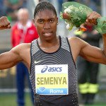 Caster Semenya celebrates after winning the 800-meter race at the Rome Diamond League meet on June 2, 2016. Semenya and other women with naturally high testosterone will be in the spotlight during the Rio Olympics. Photograph by Giancarlo Colombo/PhotoRun