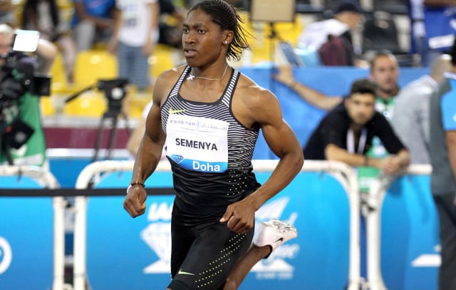 Caster Semenya runs a world-leading time (which she has since bettered) for 800 meters at the Doha Diamond League meet on May 6, 2016. Photograph by Andrew McClanahan/PhotoRun