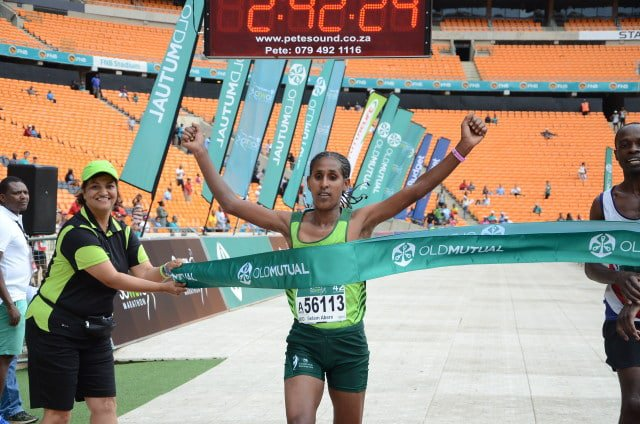 Selam Abere Alebachew - The ladies winner of the Soweto Marathon. Jetline Action Photography