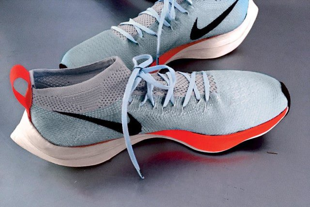 A new, light foam allows the Vaporfly Elite to have thick cushioning underfoot without adding extra weight. Jeff Dengate