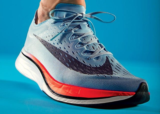 The Zoom Vaporfly 4% has the same features found in the shoe for the three elite runners—minus the precise personalization. Nathaniel Welch