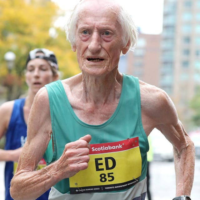Ed Whitlock runs the Toronto Marathon last October. He finished in 3:56:33. Victah Sailer / Photo Run