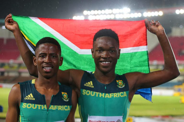 NAIROBI, KENYA - 12 July 2017, Retshidisitswe Mlenga and Tshenolo Lemao of South Africa after they won silver and Gold, respectively, in the mens 100m final during the afternoon session on Day 1 of the IAAF World U18 Championship held at the Kasarani Stadium in Nairobi, Kenya. Photo by Roger Sedres/ImageSA