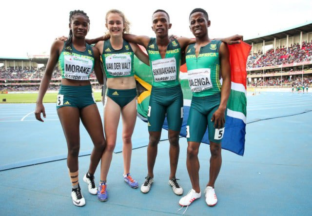 NAIROBI, KENYA - JULY 16: Gontse Morake, Zeney van der Walt, Sokwakhana Zazini and Retshidisitswe Mlenga of South Africa after they won the bronze medal in the mixed 4x400m relay during day 5 of the IAAF World U18 Championship held at Kasarani Stadium on July 16, 2017 in Nairobi, Kenya. (Photo by Roger Sedres/ImageSA/Gallo Images)