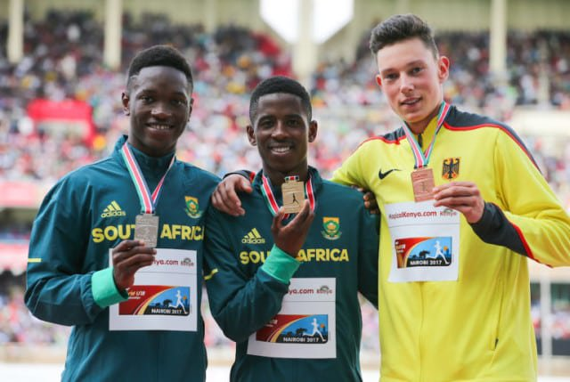 NAIROBI, KENYA - JULY 16: Tshenolo Lemao and Retshidisitswe Mlenga of South Africa with Luis Brandner of Germany with their medals in the boys 200m during day 5 of the IAAF World U18 Championship held at Kasarani Stadium on July 16, 2017 in Nairobi, Kenya. (Photo by Roger Sedres/ImageSA/Gallo Images)