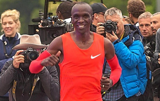 Eliud Kipchoge flashes a smile after attempting to break two hours in the marathon in Monza, Italy. Chris Lawrence