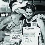SOUTH AFRICA - JUNE 03,  Bruce Fordyce kisses Zola Budd during the 2012 Comrades Marathon on June 03, 2012 in South Africa. The 2012 Comrades Marathon is starting at the City Hall in Pietermaritzburg and finishing at the Sahara Kingsmead Cricket Stadium in Durban. Photo by Anesh Debiky / Gallo Images