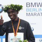 Eliud Kipchoge following his win at the 2017 Berlin Marathon in a time of 2:03:32. Alexander Hassenstein/Getty Images