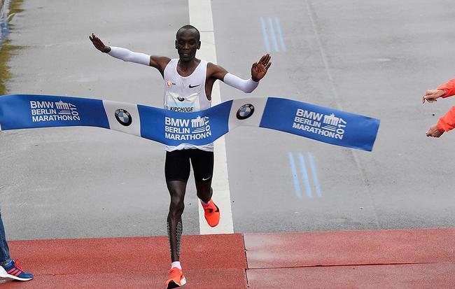 Eliud Kipchoge wins the 2017 Berlin Marathon. Martin Meissner/AP