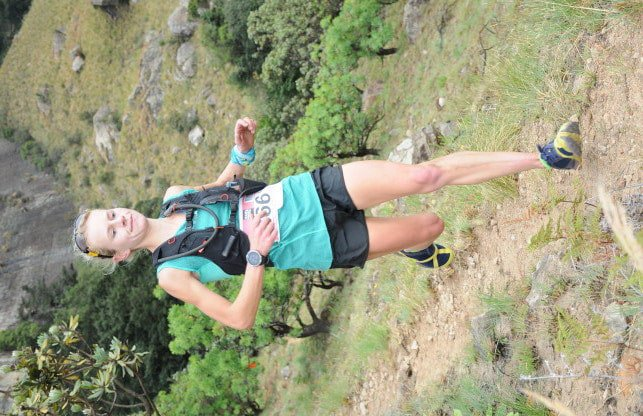 Nicolette Griffioen - the eventual winner of the women's 'Extreme' (+/-25km / 25km) - descends the mountain on day one, from Cannibal Cave. Image courtesy of Jetline Action Photo