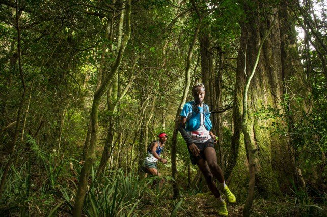 Thabang Madiba won the men's 'Extreme'. He is pictured flying through the Fen Forest on Day One, the chasing pack hot on his heels. Image courtesy of Jetline Action Photo