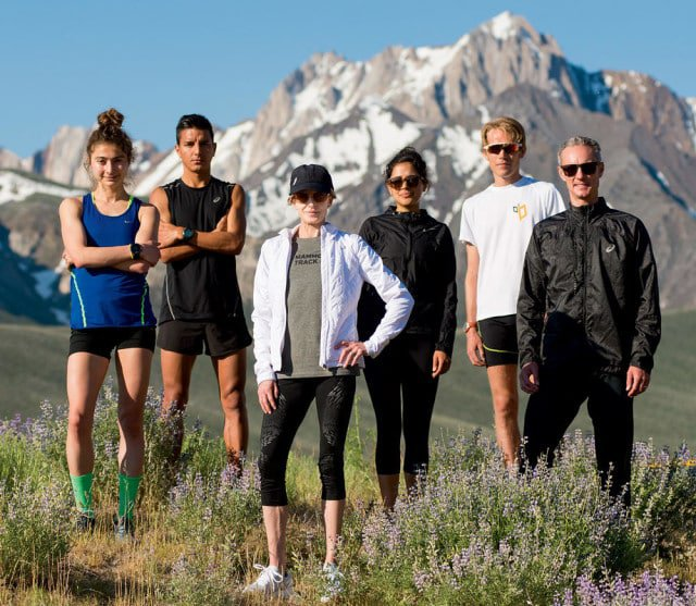 "Members of the Mammoth Track Club on ""Green Church Road."" From left: Alexi Pappas, Daniel Tapia, Deena Kastor, Sarah Attar, Reid Buchanan, and Coach Andrew Kastor. Miles Weaver"
