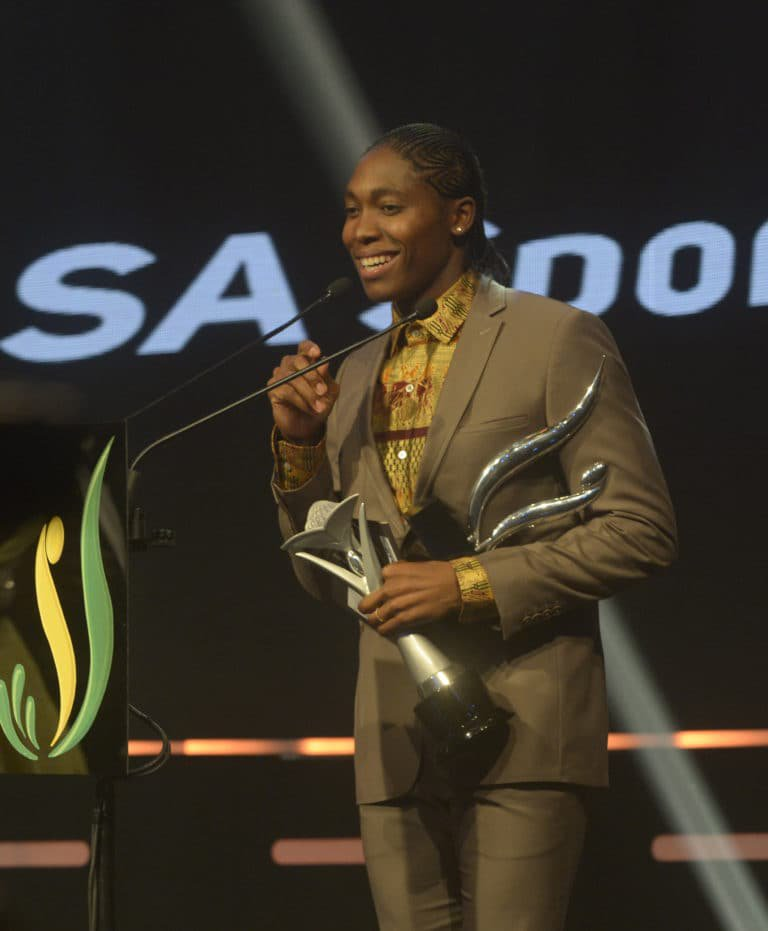 JOHANNESBURG, SOUTH AFRICA - NOVEMBER 12: Caster Semenya during the SA Sports Awards at Emperors Palace on November 12, 2017 in Johannesburg, South Africa. (Photo by Sydney Seshibedi/Gallo Images)