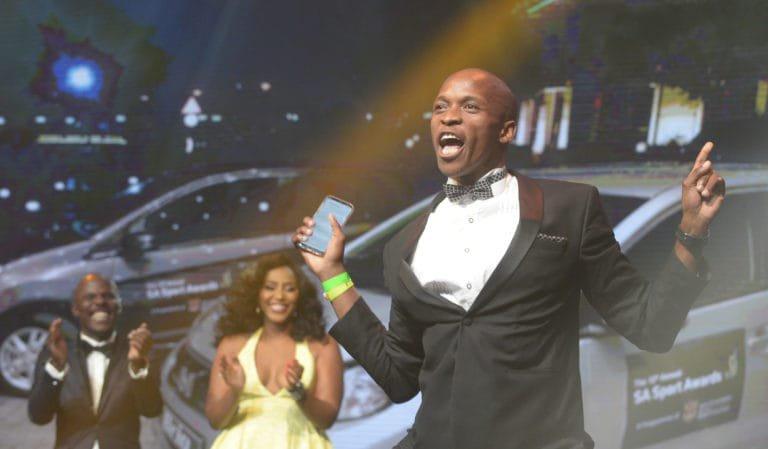 JOHANNESBURG, SOUTH AFRICA - NOVEMBER 12: Luvo Manyonga during the SA Sports Awards at Emperors Palace on November 12, 2017 in Johannesburg, South Africa. (Photo by Sydney Seshibedi/Gallo Images)