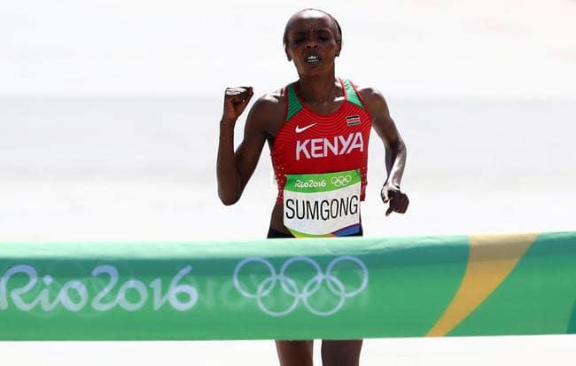 Jemima Sumgong of Kenya wins the women's marathon in 2:24:04. Alexander Hassenstein/Getty Images