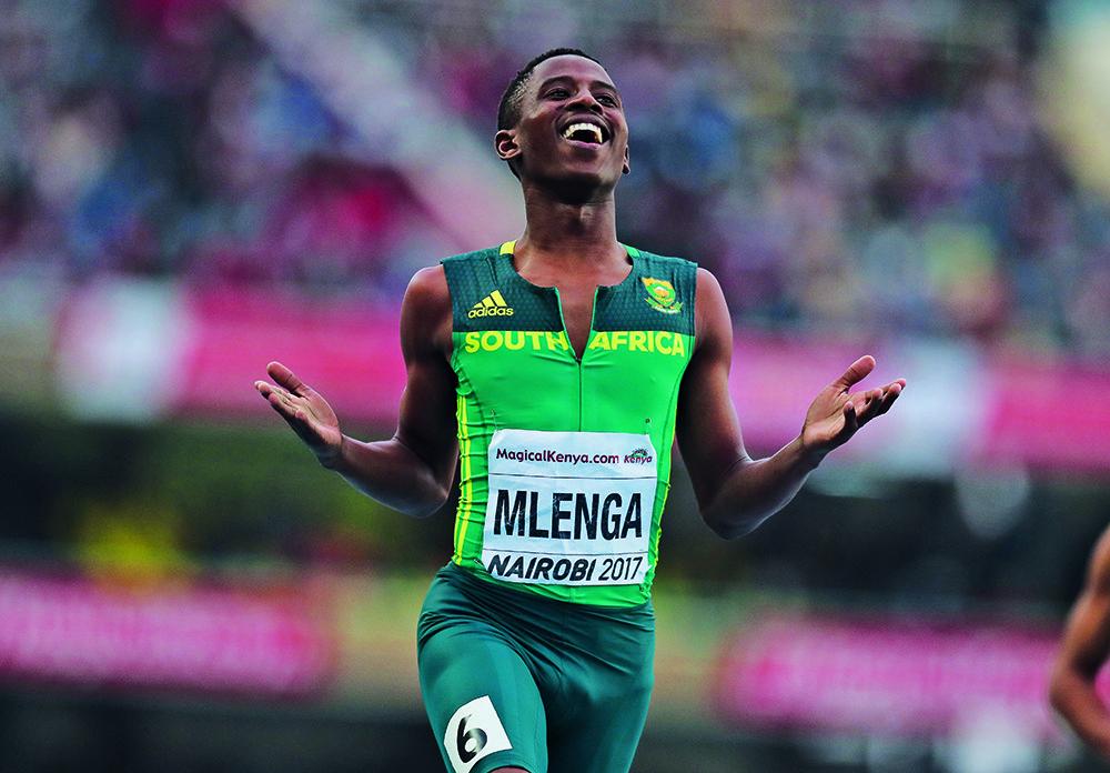 NAIROBI, KENYA - JULY 15: Retshidisitswe Mlenga of South Africa in the semi final of the mens 200m during day 4 of the IAAF World U18 Championship held at Kasarani Stadium on July 15, 2017 in Nairobi, Kenya. (Photo by Roger Sedres/ImageSA/Gallo Images)
