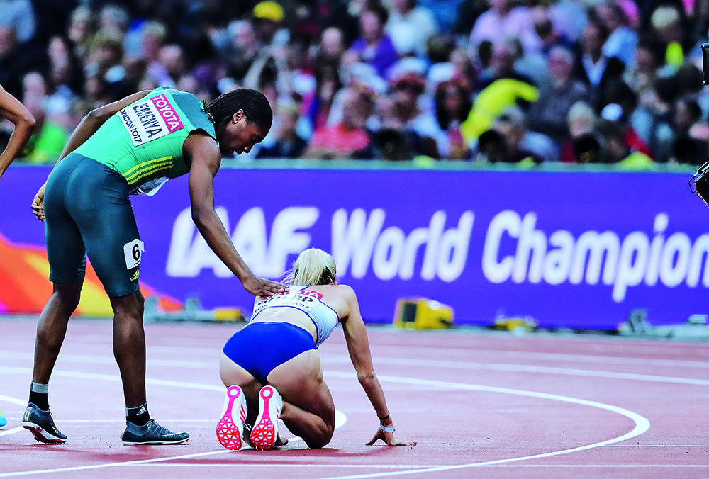 LONDON, ENGLAND - AUGUST 11: Caster Semenya of South Africa and Lynsey Sharp of Great Britain in the semi final of the women's 800m during day 8 of the 16th IAAF World Athletics Championships 2017 at The Stadium, Queen Elizabeth Olympic Park on August 11, 2017 in London, England. (Photo by Roger Sedres/ImageSA/Gallo Images)