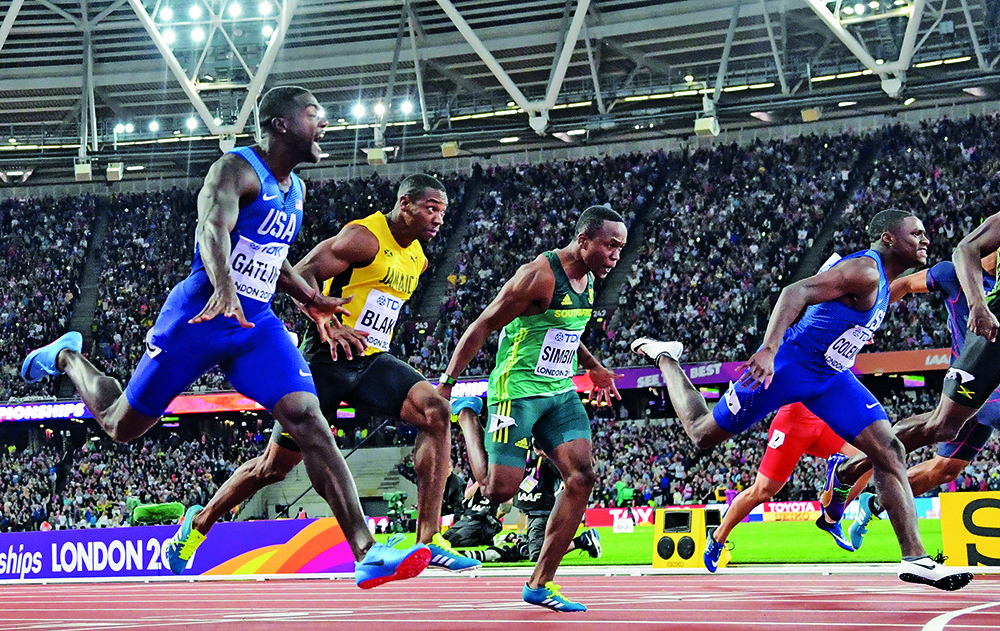 LONDON, ENGLAND - AUGUST 05: Akani Simbine of South Africa finishes 5th in the mens 100m final during day 2 of the 16th IAAF World Athletics Championships 2017 at The Stadium, Queen Elizabeth Olympic Park on August 05, 2017 in London, England. (Photo by Roger Sedres/ImageSA/Gallo Images)