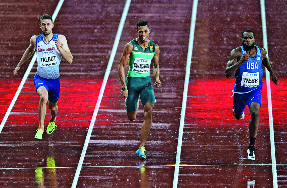 LONDON, ENGLAND - AUGUST 09: Wayde van Niekerk in the semi final of the mens 200m during day 6 of the 16th IAAF World Athletics Championships 2017 at The Stadium, Queen Elizabeth Olympic Park on August 09, 2017 in London, England. (Photo by Roger Sedres/ImageSA/Gallo Images)