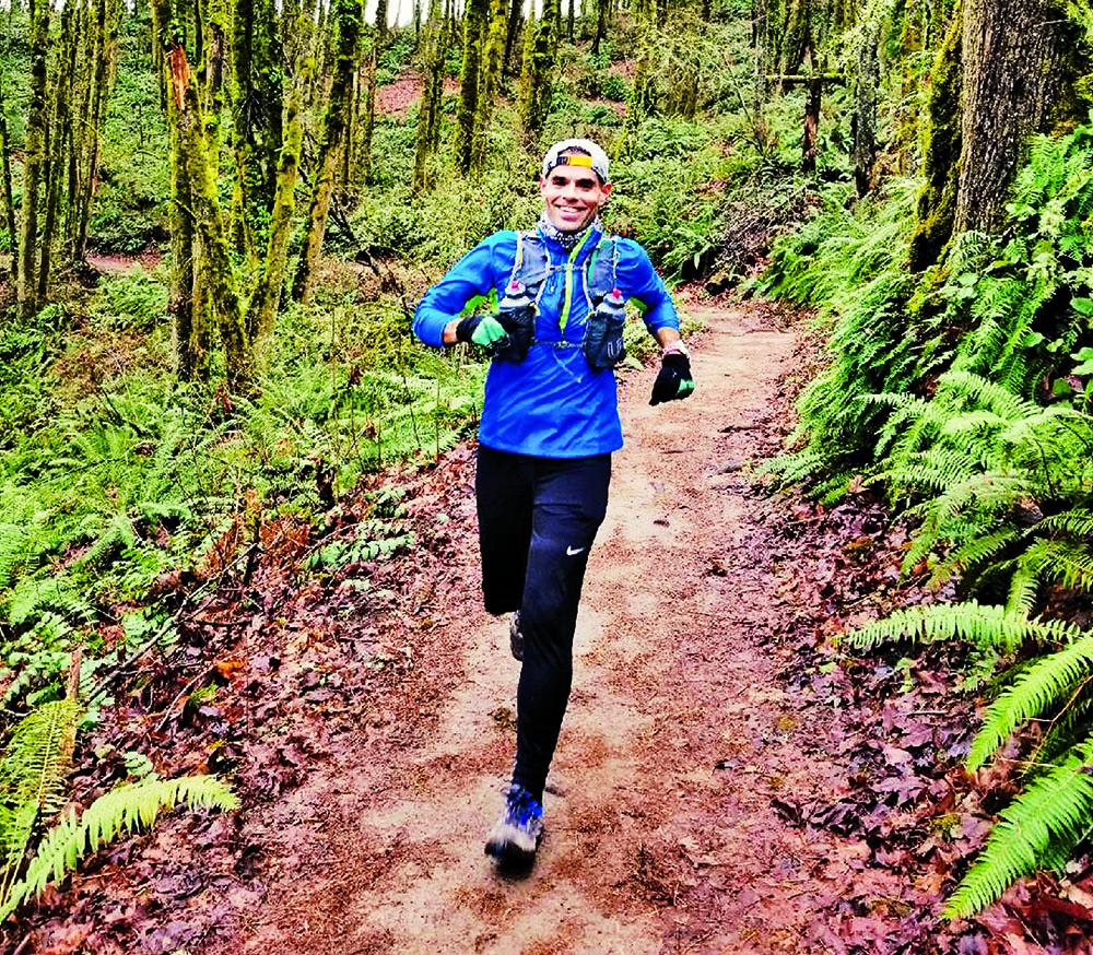Runner running in the forest